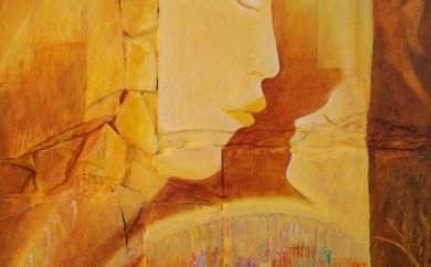 Lumière de vie - collage sur bois huile sur ardoise - sulijen