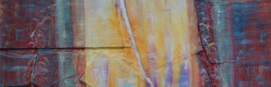 la voix de la voie - collage sur bois huile sur ardoise - sulijen