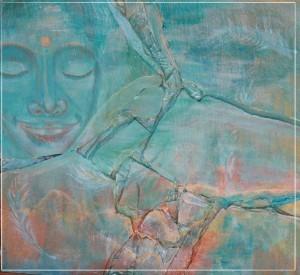 l'air du temps - collage sur bois acrylique sur ardoise - sulijen