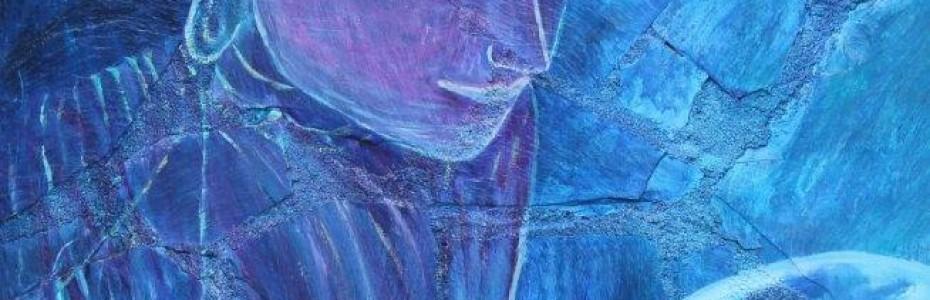 Uni vers elle collage sur bois - acryllique sur ardoise - sulijen