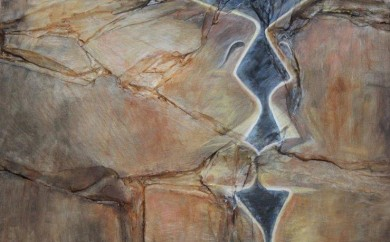 Le temps des baisers - collage sur bois huile sur ardoise - sulijen