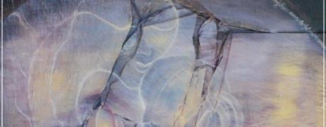 Perle d'amour - collage sur bois huile sur ardoise - sulijen