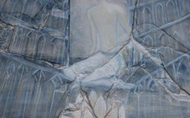 Plénitude - collage sur bois huile sur ardoise - sulijen