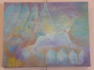Collage - Huile sur toile 65x50